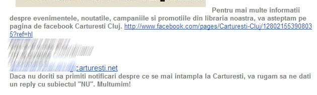Abuzul de email, varianta Cărturești Cluj